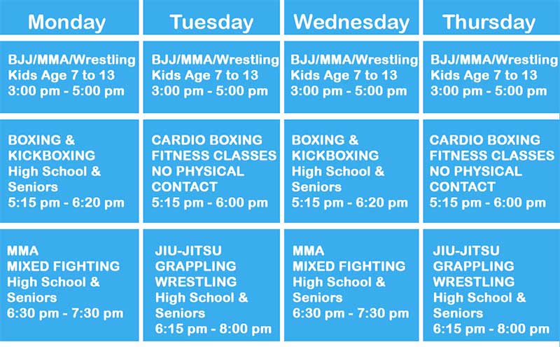 Bear Fight Club Class Schedule